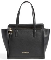 Salvatore Ferragamo 'Small Amy' Calfskin Tote - Black