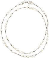 Jose & Maria Barrera Silvertone Long Pearl & Crystal Beaded Necklace