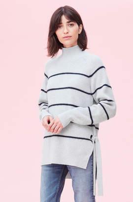 Rebecca Taylor Fluffy Stripe Turtleneck Pullover