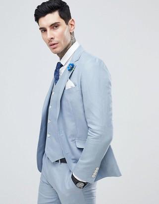 Gianni Feraud Wedding Slim Fit Linen Plain Suit Jacket-Blue