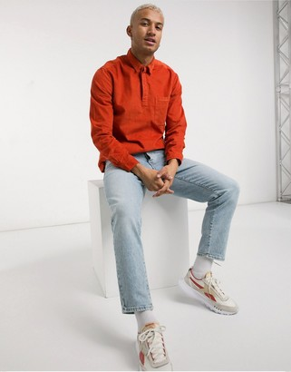 ASOS DESIGN rugby style overhead cord shirt in rust