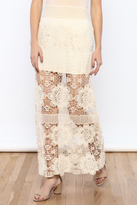 Bacio Cream Crochet Maxi Skirt