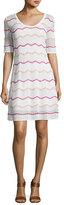 M Missoni Short-Sleeve Zigzag Knit A-Line Dress, White Pattern