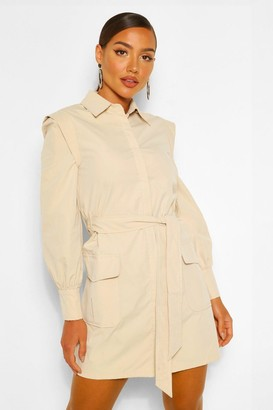 boohoo Shoulder Detail Belted Utility Shift Dress