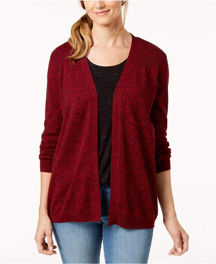 Karen Scott Cotton Marled Cardigan Sweater