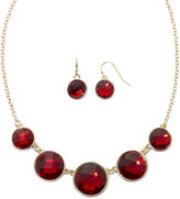 Liz Claiborne Red Crystal Collar Necklace and Drop Earring Set