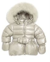 ADD Baby's & Toddler's Fox Fur-Trim Belted Down Puffer Jacket