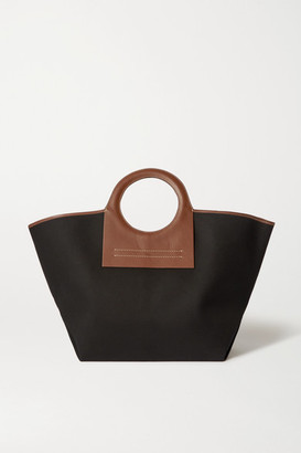 Hereu + Net Sustain Cala Large Leather-trimmed Canvas Tote - Black