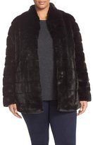 Ellen Tracy Grooved Faux Fur Coat (Plus Size)