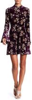 As U Wish Floral Bell Sleeve Velvet Dress
