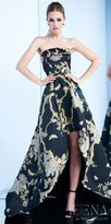 Mac Duggal Strapless Floral Printed High Low Evening Dress