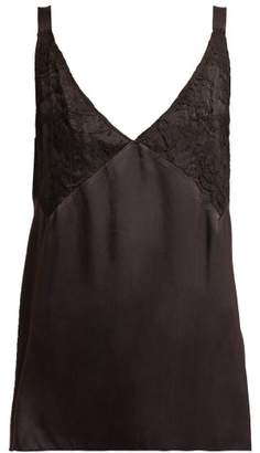 Icons Orchid Lace-panel Silk Camisole - Womens - Black