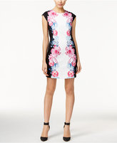CeCe Printed Cap-Sleeve Sheath Dress