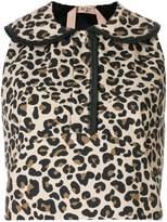 No.21 leopard print sleeveless blouse