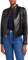Derek Lam 10 Crosby Tab-Collar Lamb Leather Jacket