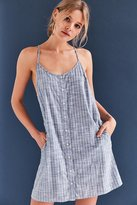 Obey Sanders Button-Front Chambray Dress