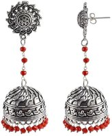 Silvestoo Jaipur Elegant Indian Saree Suit Jewellery-Surya Jhumka Earring With Crystal Facetes Beads PG-108677