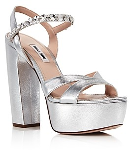 Miu Miu Women's Crystal Metallic Platform Sandals