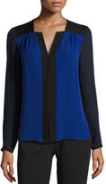 Elie Tahari Sheyda Colorblocked Silk Blouse