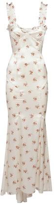 Alessandra Rich Floral Print Silk Satin Slip Dress