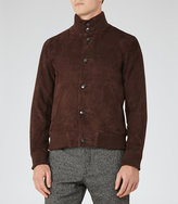 Reiss Espresso Button Suede Jacket