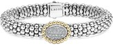 Lagos Oval Diamond Station Sterling Silver Caviar Bracelet with 18K Gold