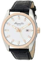 Kenneth Cole New York Men's KC8037 Classic Round Silver Dial Rose Gold Bezel Detailed Strap Watch