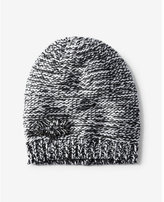 Express black and white embellished marled knit beanie