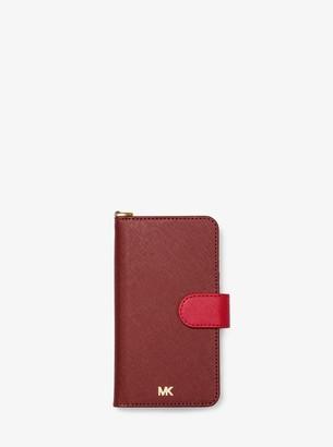 MICHAEL Michael Kors Two-Tone Saffiano Leather Wristlet Folio Case for iPhone X/XS