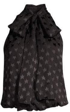Alice + Olivia Delphine Tie Neck Gathered Top