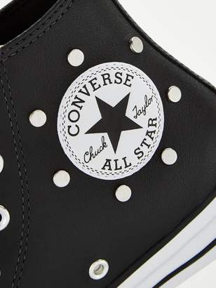 Converse Chuck Taylor All Star Stud Leather Hi Top Plimsolls - Black