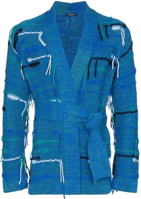 Canessa Belted Fringed Cashmere-Blend Cardigan