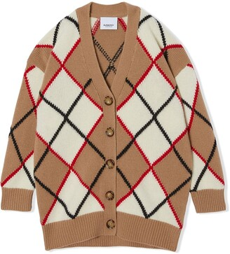 BURBERRY KIDS Argyle intarsia cardigan