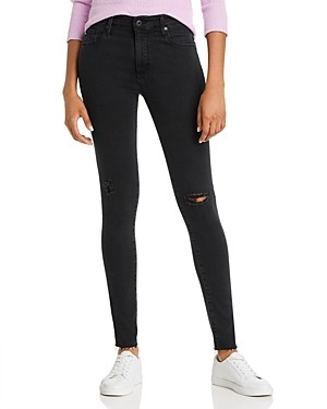 AG Jeans High-Rise Jeans in Altered Black Destructed