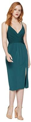 BCBGeneration Cocktail Drape Front Surplice Midi Dress - YDM6279762 (Bright Elm) Women's Dress