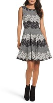 Eliza J Petite Women's Jacquard Fit & Flare Dress
