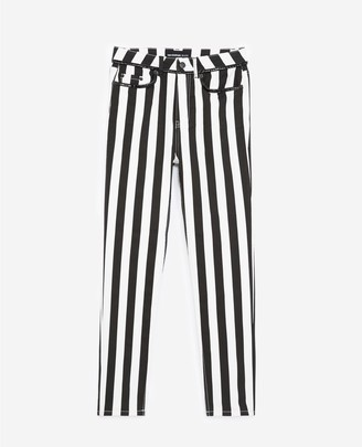 The Kooples Black and white striped slim-fit jeans
