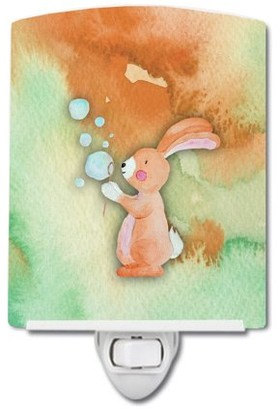 Caroline's Treasures Rabbit and Bubbles Watercolor Ceramic Night Light