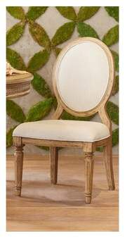 BEIGE Linen Upholstered King Louis Back Side Chair in Magnolia Home