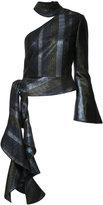 Christian Siriano asymmetric lurex stripe top - women - Silk/Cotton/Acrylic/Metallic Fibre - 4