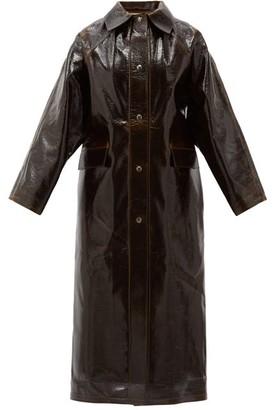 Kassl Editions Vinyl-coated Wool Longline Coat - Dark Brown