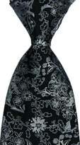 R-ABC Mr.ZHANG New Classic Florals Silver JACQUARD WOVEN Silk Men's Tie Necktie