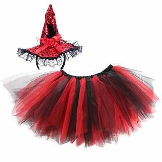 Golden Apple Adult Women Halloween Tutu Skirt Red Tulle Petticoat with Sequins Witch Hat Headbands