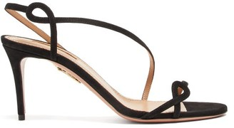 Aquazzura Serpentine 75 Suede Sandals - Womens - Black