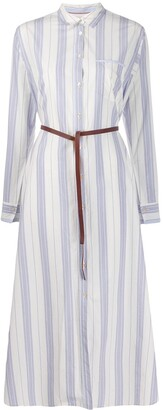 Forte Forte Striped Belted Waist Shirt Dress