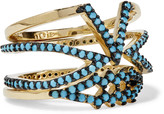 Noir Set of three gold-plated turquoise rings