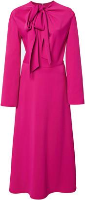 Valentino Crepe Tie-Neck Midi Dress