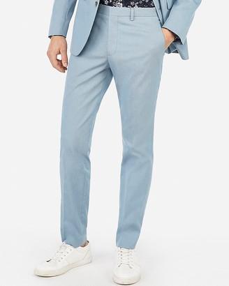 Express Extra Slim Light Blue Cotton Blend Stretch Suit Pant
