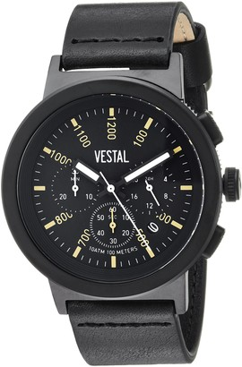 Vestal Stainless Steel Quartz Watch with Leather Strap
