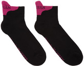 Alexander McQueen Black and Pink Signature Ankle Socks